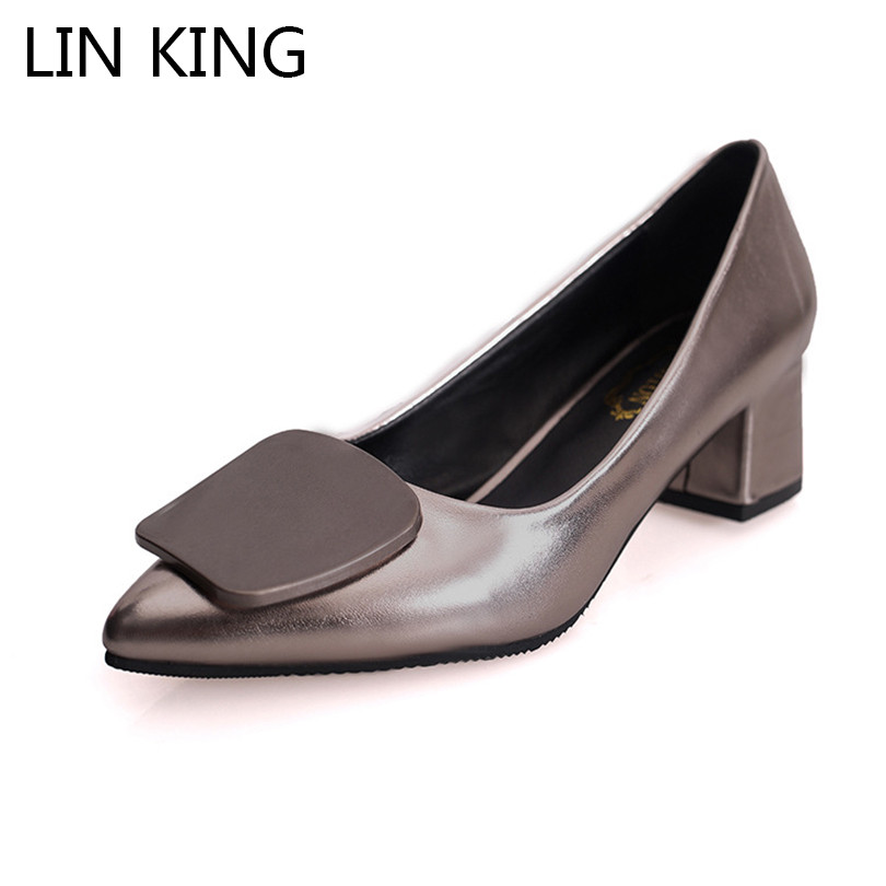 LIN KING New Fashion Square Heel Women Pumps Shallow Slip On Pointed Toe Single Shoes Sexy Med Heel Ladies Wedding Party Shoes wedopus mw088 closed toe women green wedding shoes bridesmaid med heel