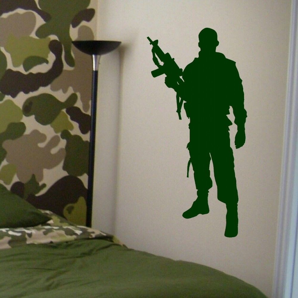 . US  8 98 25  OFF Military Army Soldier Wall Decal Home Boys Bedroom Decor  Art Mural Vinyl Sticker Removable House Interior Decorate Decals ZB501 in