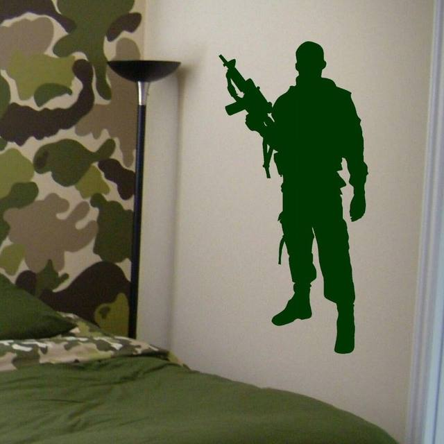 Military Army Soldier Wall Decal Home Boys Bedroom Decor Art Mural Vinyl  Sticker Removable House Interior Decorate Decals ZB501