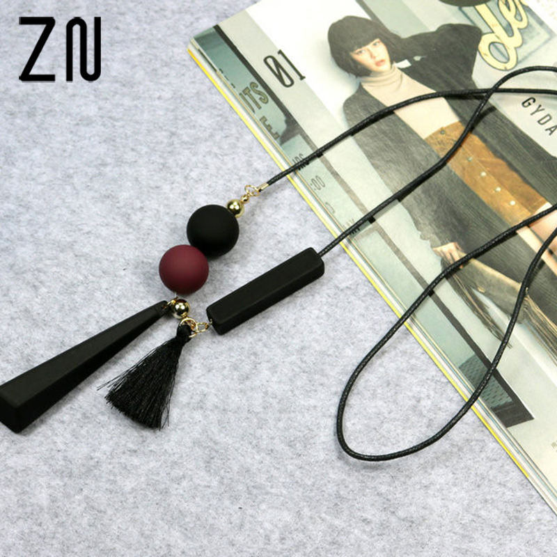 ZN Women Leather Tassels Long Necklaces Chain Cute Mixed Colors Geometric Squares Pendant Women Necklaces For Wedding Party