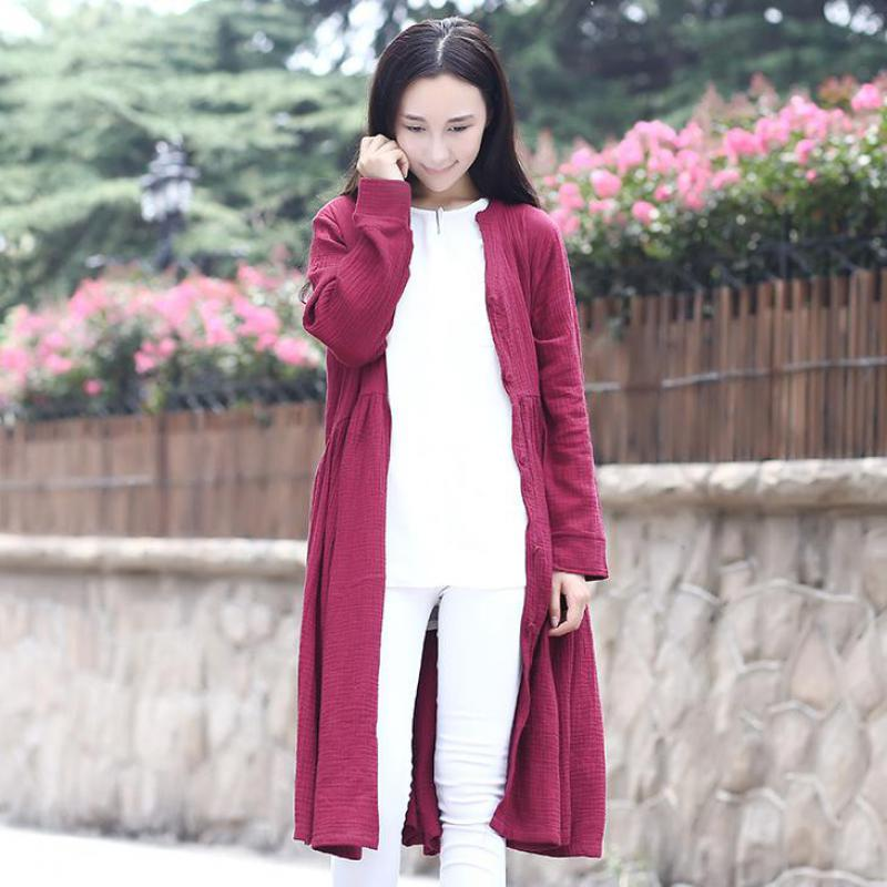 2018 Spring New Long Sleeved Cardigan Single Breasted V-neck Long Coat Mori Girl Solid Color Women   Trench   Coat Qy 057