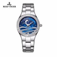 Reef Tiger/RT Fashion Causal Watches for Women Moon Phase Watch Stainless Steel Blue Wrist Watches RGA1524