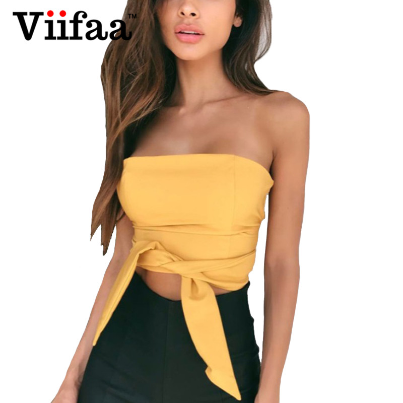 Viifaa Tie a Bowknot Women Strapless Crop Top Bustier Summer 2018 Sexy Backless Yellow Top Bralette Tank Top