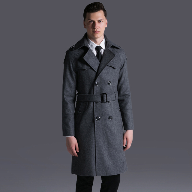 6f6fcf94ea1f Men Double Breasted Work Business Wool Coat Winter Military Army Plus Size  Turn-Down Collar Belted Cashmere Long Pea Coat E30