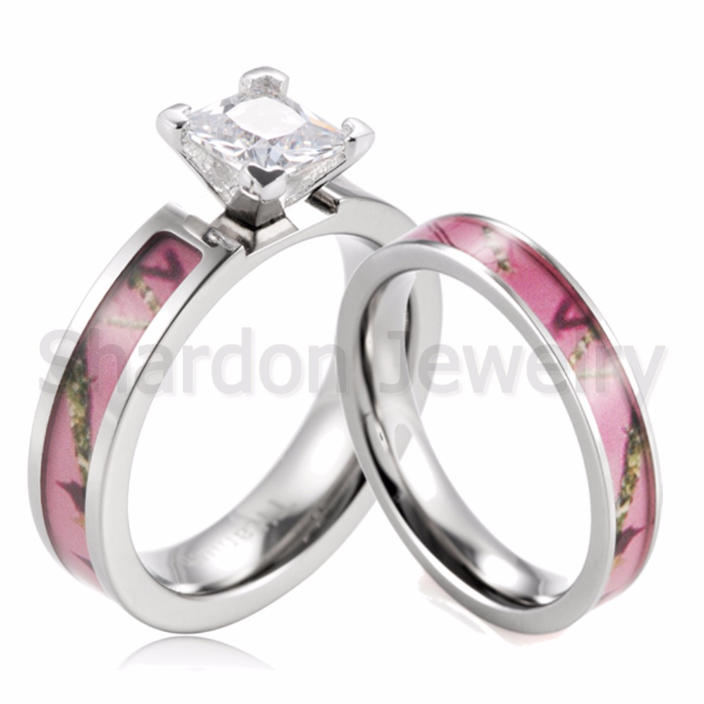 shardon pink tree camo ring set women titanium princess prong setting round cz engagement ring wedding band for women 2pcs - Camouflage Wedding Ring Sets
