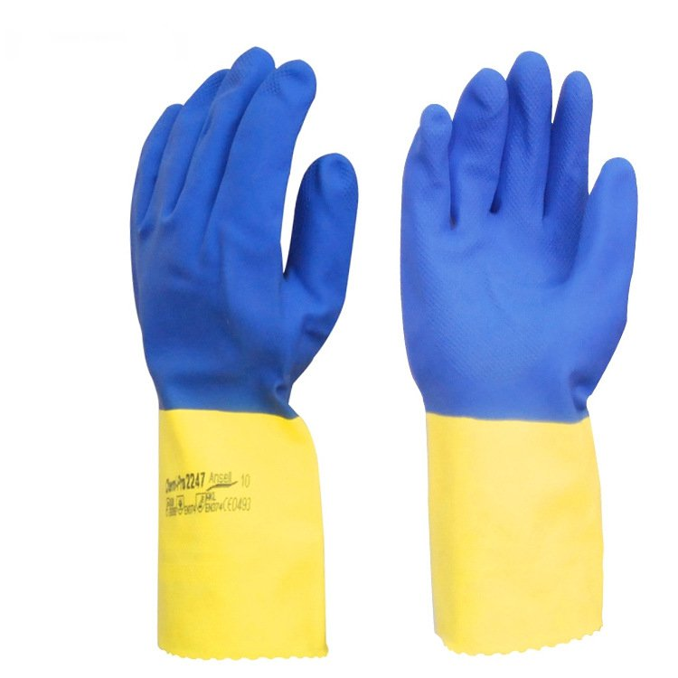Acid and alkali resistant chloroprene rubber gloves chemical resistant protective industrial detergent thickening anti acid and alkali chemical corrosion fisheries agriculture latex rubber gloves labor supplies black
