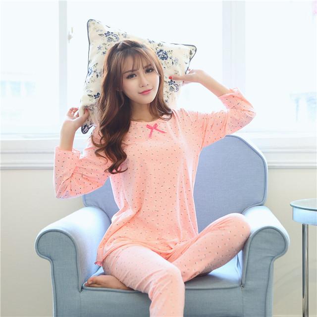 2016 Nueva Moda Otoño de Algodón Mujeres Pijamas de Manga Larga Ropa Equipamiento Del Hogar Salón ropa de Dormir Homewear JA5035