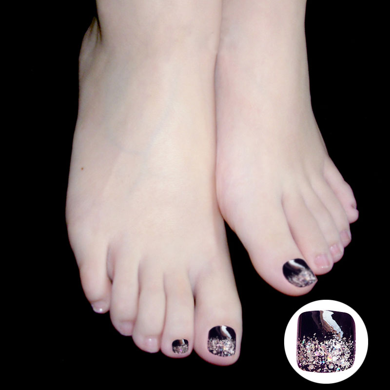 24 Pcs Shine False Toe Nails Tips Bow Glitters Pedicure Patches Fake ...