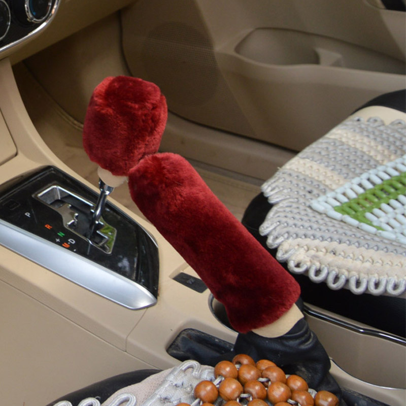 Winter Plush Fur Car Hand Brake Cover Shift Knob Cover For Cadillac XTS SRX ATS CTS/Renault Koleos Fluenec Latitude