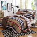 2017 Summer bedding set duvet cover queen size bed sheet morden bedding classic brown grid bedspread bed linen housse de couette