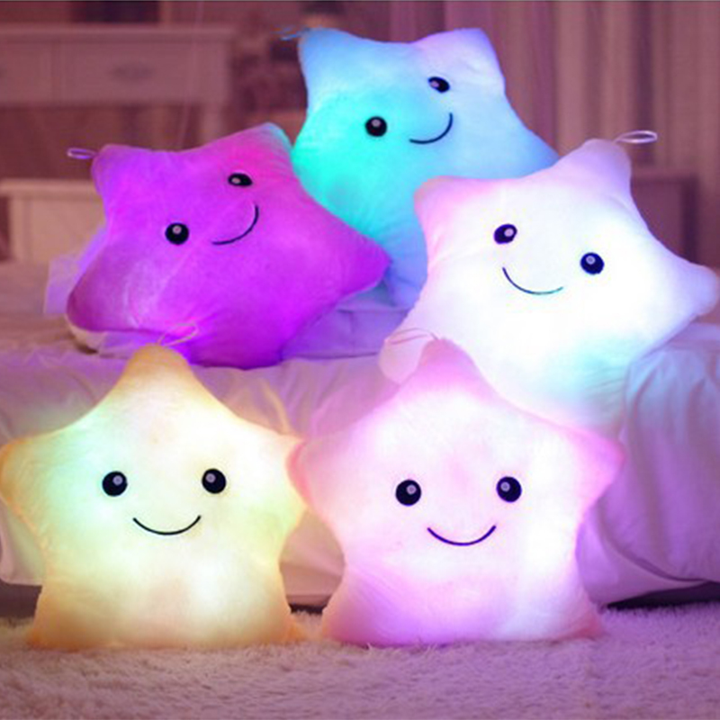 New!2020 Illuminate Star Shape Baby Pillow Plush Baby Room Decor Bedding Crib Decoration Infantil Pillow Emoticon Pillow Cushion