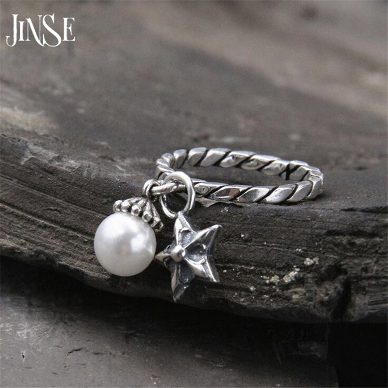 JINSE Innovative Romantic Cuff Open 925 Sterling Silver Lover Rings for Women Pearls Star Charms Fine Jewelry 2 10mm 3 5G in Wedding Bands from Jewelry Accessories