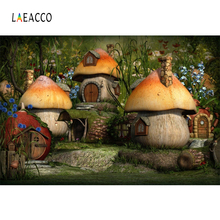 Laeacco Mushroom Backdrops Fairytale Forest Tree House Baby Party Decor Portrait Photographic Backgrounds Photocall Photo Studio