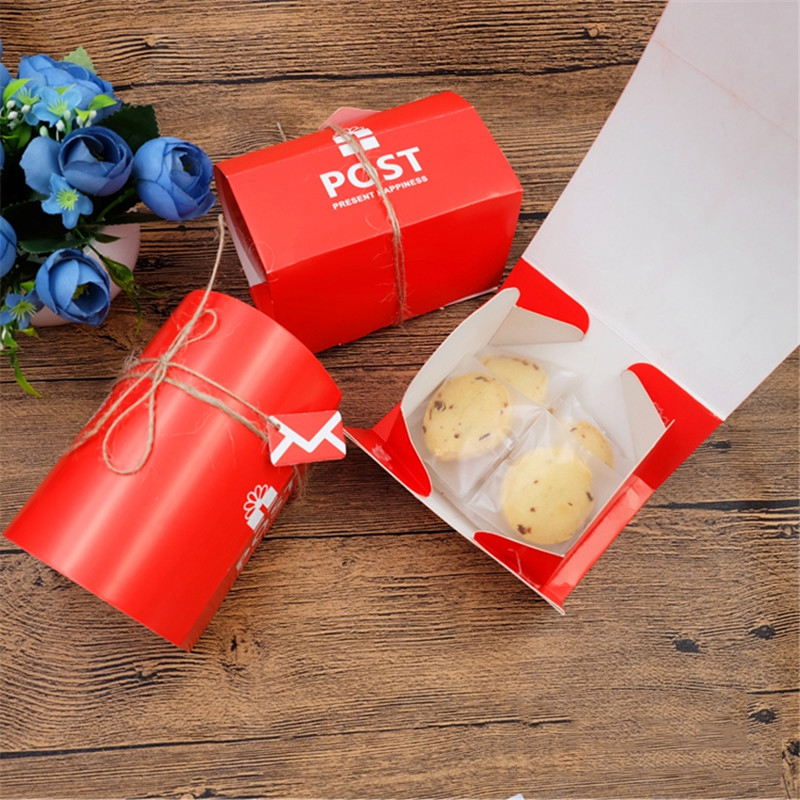 10pcs/lot Christmas Red Color Mail Post Storage Box Wedding Paper Mailbox Candy Box New Year Bakery Packaging Small Gift Box