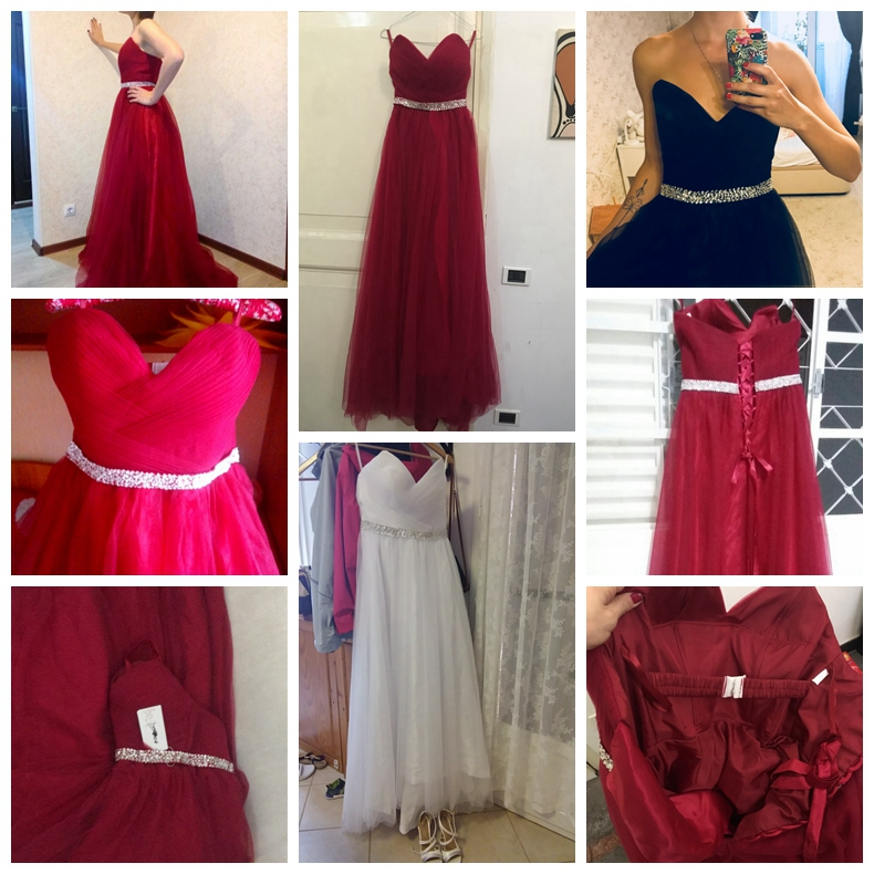 Купить с кэшбэком 100% Real Images Elegant Dress Women for Wedding Party Burgundy Sweetheart Long Dresses Evening Wine A-Line vestidos mae de noi