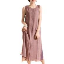 Summer Dress 2019 Women Vintage Cotton Dress Plus Size 3XL 4XL 5XL Sleeveless Casual Loose Midi Long Dress Oversized robe female цена и фото