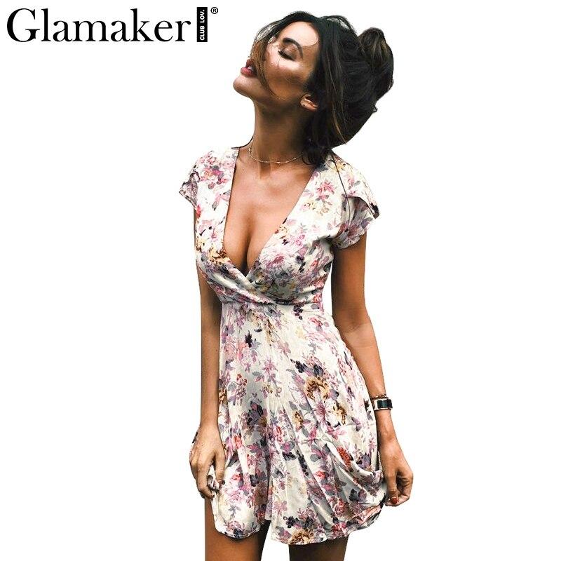 Glamaker Floral Summer Dress Women Sexy Boho V Neck Sundress Casual Dress Short Sleeveless Beach Dress