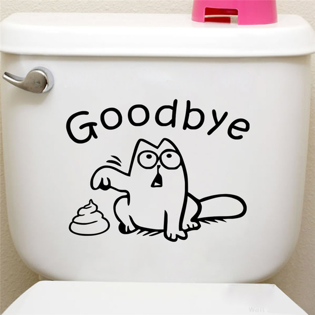 Funny Cat Say Goodbye Toilet Seat Black Wall Stickers Bathroom Car Window Home Decor Cartoon Animal