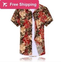 DropshipMen Plus Size (XL-7XL) Europa e In America Fashion Flower Stampa di Seta Camicia A Manica Corta-J02432