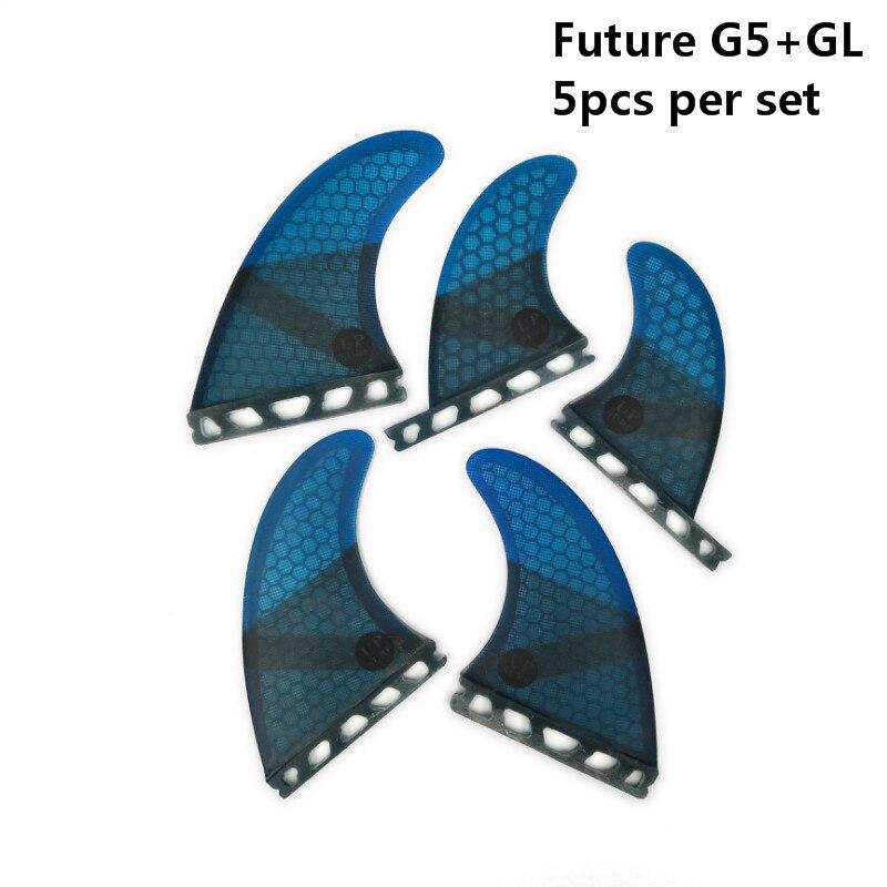 5 piezas/4 piezas aletas de Upsurf futuro Fin G5 + GL tabla de surf de aletas de fibra de vidrio de nido de abeja Quad aletas Quilhas propulsor - 3