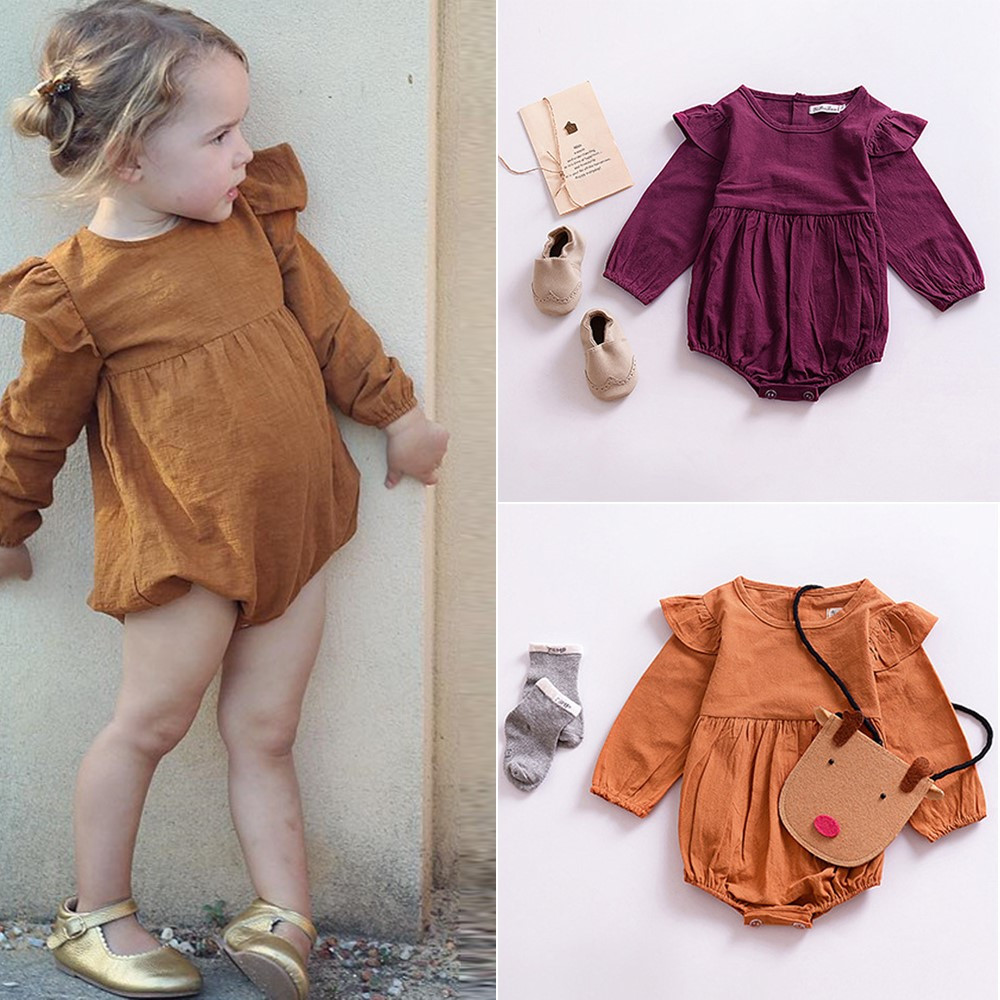 Kids Baby Girls Long Sleeve Ruffle Romper Bodysuit Jumpsuit Clothes Outfit Retro