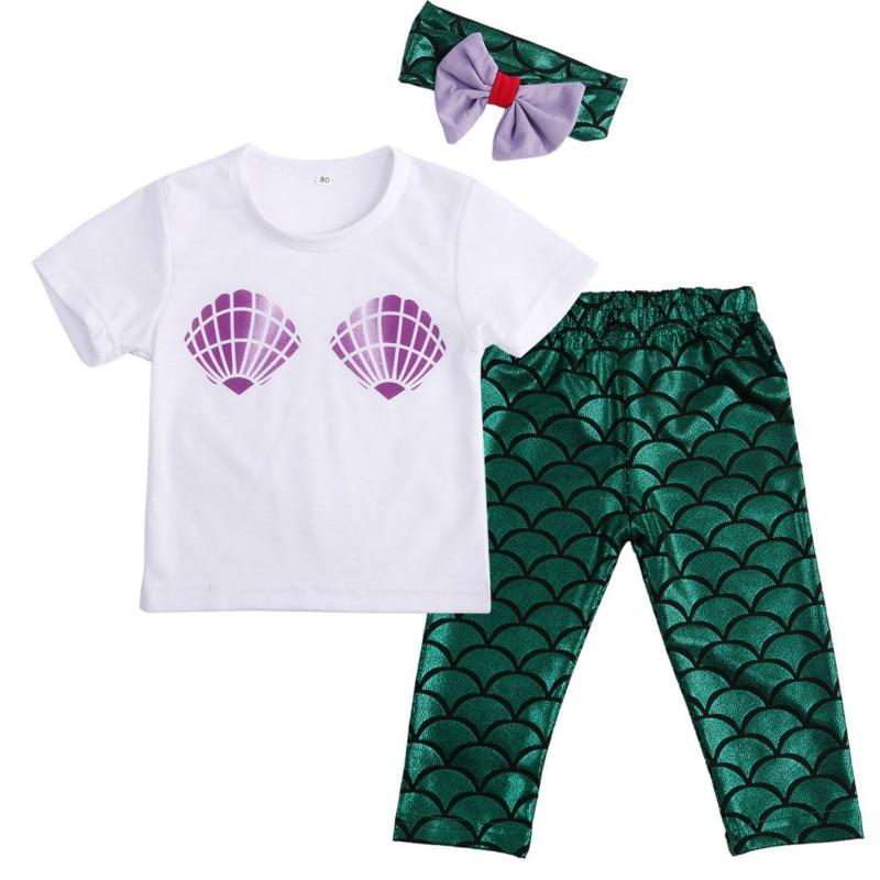 Hot Sale Fashion Newborn Kids Baby Girl Clothing Shell White Tops T-shirt Green Mermaid Pants Leggings Outfits 3PCS Lovely Set