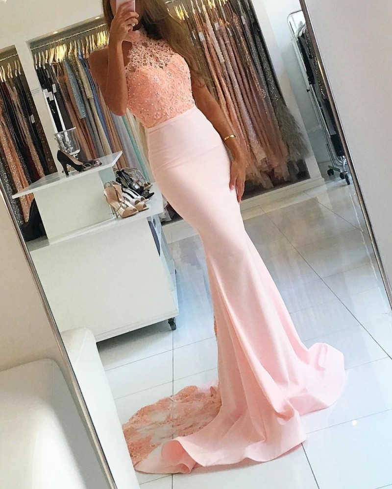 Pink 2019   Prom     Dresses   Mermaid Halter Appliques Lace Beaded Backless Party Maxys Long   Prom   Gown Evening   Dresses   Robe De Soiree