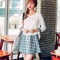 Moda Casual Vestido Solto Manga Longa O-pescoço Cintura Elástica Patchwork Acima Do Joelho Mini Coreia Do Estilo de Outono 2016 Moda F6751