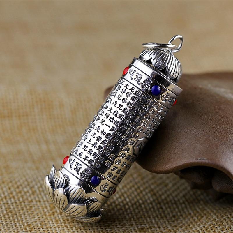S925 silver jewelry Folk Style Pendant lotus heart pendant free shipping tube Ms.