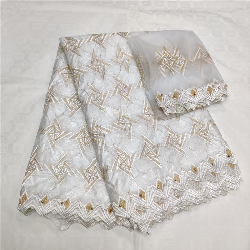 2019 New arrival african bazin riche getzner fabric with beads cord lace fabric guinea brocade fabric