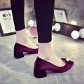 Boca rasa dedo apontado bombas sapatos femininos calcanhar med pérola goatswool antiderrapante all-jogo quadrados casamento sapatos vermelhos 5 cm