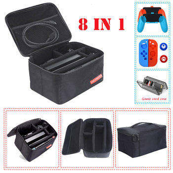 8 in 1 Kit Big Pouch Carrying Box Protective Storage Bag for Nintend Switch Console Case &2 Handgrips&Silicon Cases&Analog Caps