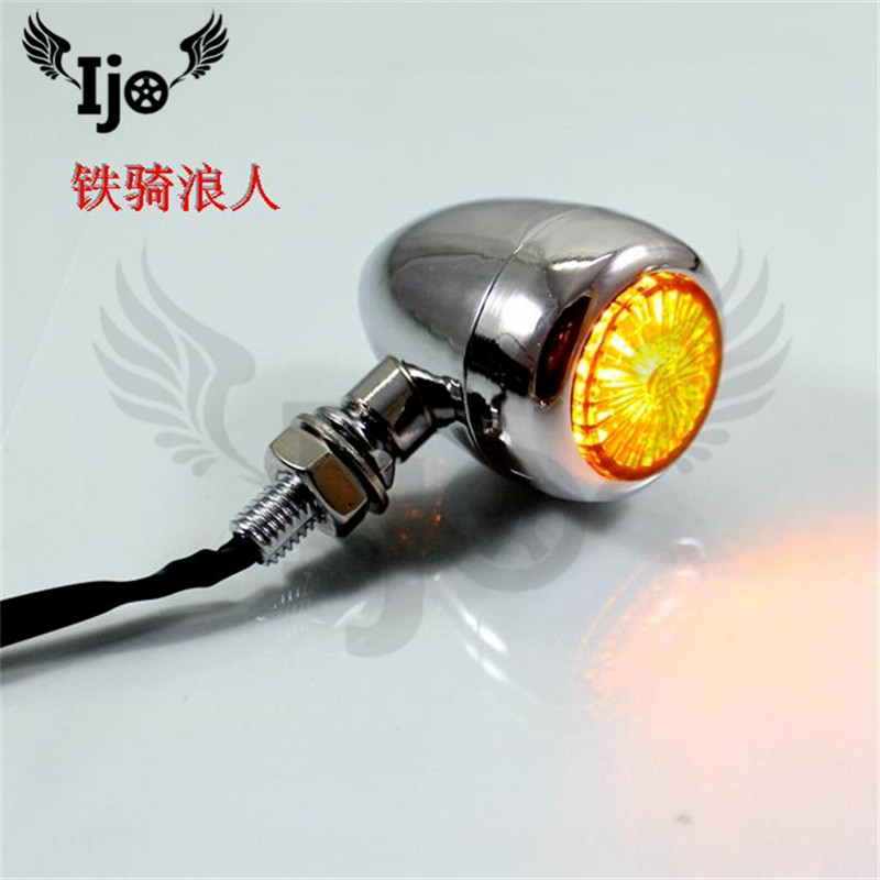 top quality metal retor black chrome silver motorcycle flasher for harley prince cruise lamp amber motorbike turn signal light