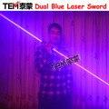 Envío gratuito Mini Dual Direction Blue Laser Sword para láser Man Show 450nm 1000 MW doble cabeza de láser de haz ancho