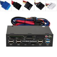 New Hot 5.25inch Media Dashboard Front Panel USB3.0/2.0 HUB eSATA SATA Audio Card Reader 8 @88
