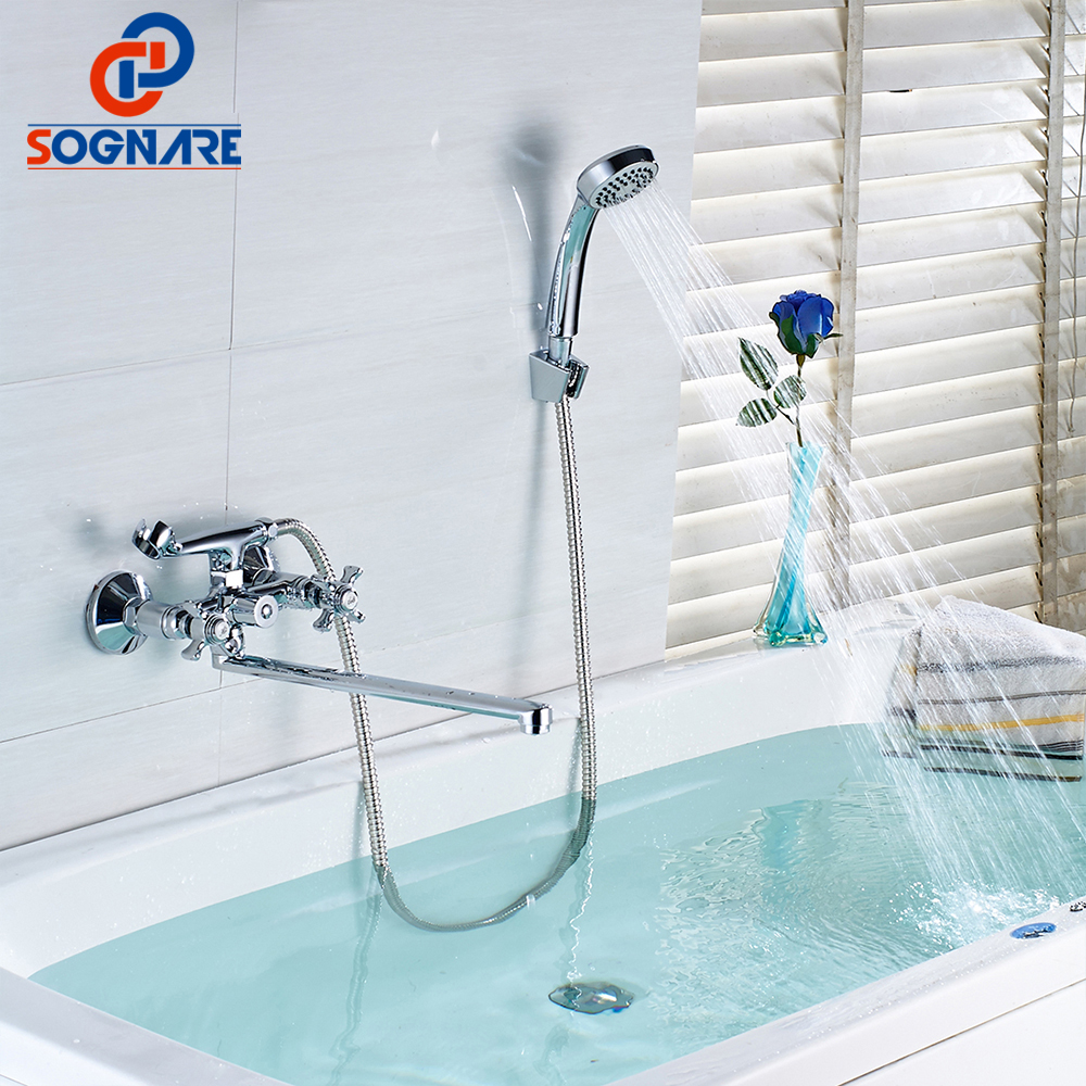 SOGNARE Wall mounted Shower Faucet Set 35cm Stainless Steel Long Nose Outlet Bathtub Mixer Two-Handle Control Hot and Cold D6102