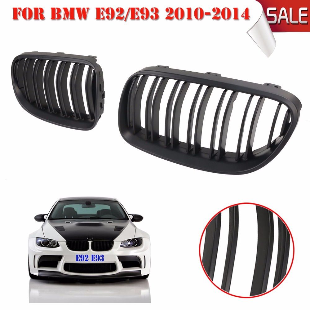 1 pair Matte Black Double line Front Kidney Grille Grill For BMW E92 LCI E93 318i 320i 328i 335i Coupe 2-DOOR 2011-2013 C/5 bumper grill front kidney car grille glossy black grid plastic grill mesh for bmw x series x1 e84 xdrive28i xdrive20d 1 pair