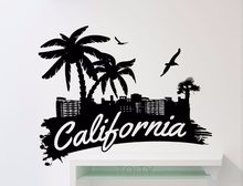 California Word Logo Wall Sticker Palms Birds Beach Vinyl Decal Home Room Interior Decor Waterproof High Quality Mural(China)