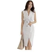 2016 Summer Dress Women White Sexy Slim Sleeveless T-Shirt Sheath Office Double-Breasted V-Neck Pencil Split Party Long T Shirt