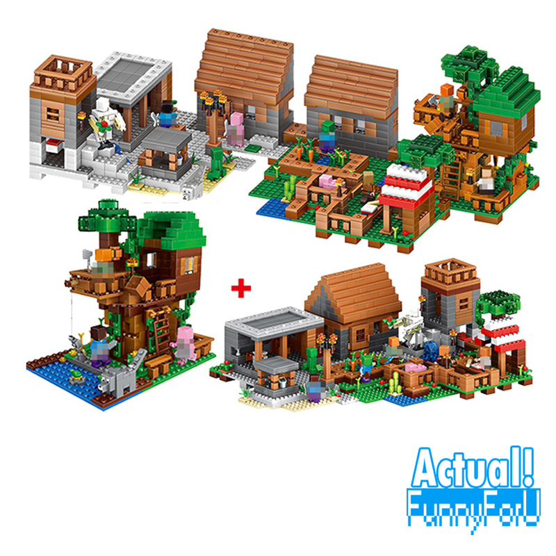 LELE 33068 1516PCS My World Minecraft The Village & Jungle Tree House action figures Building Block Bricks Toy For Children Gift lepin 18029 minecraft 828pcs the underwater model action anime figures my world building block bricks fun toys for children gift