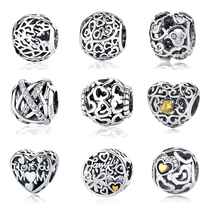 2018 Authentic 925 Sterling Silver Dazzling Clear Vintage Round Crystal Beads Fit Pandora Charm Bracelet DIY Original Jewelry