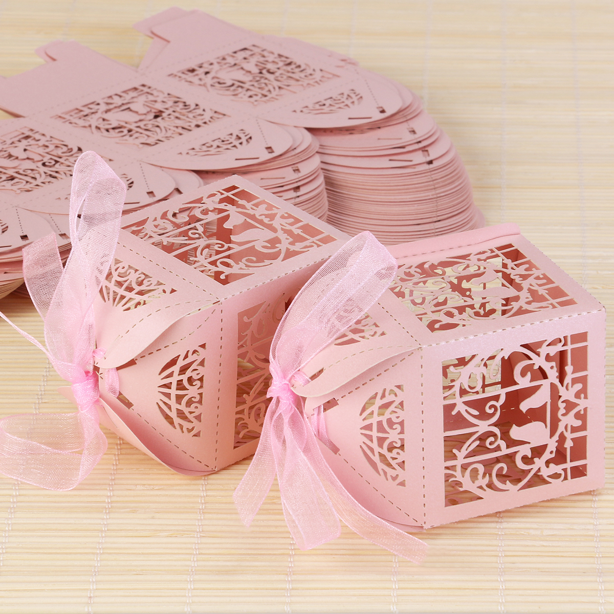 50pcs Hollow Bird Style Wedding Favor Candy Boxes Gift Boxes with ...