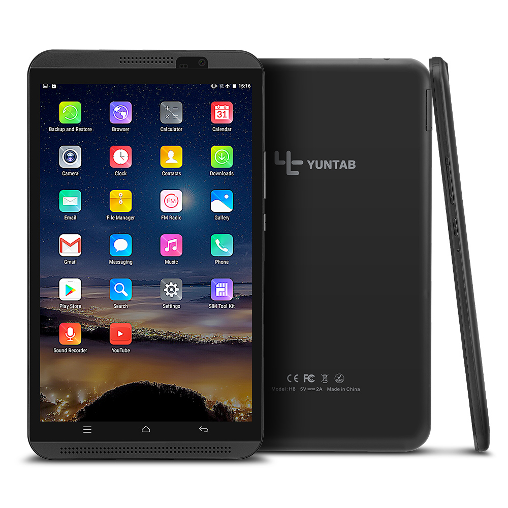Yuntab 8 inch 4G Tablet PC H8  Android 6.0 dual SIM Card Cell phone Quad-Core 2GB RAM 16GB ROM Mobile Phone with dual camera original 8 inch lenovo yoga tablet 3 yt3 850f qualcomm apq8009 quad core 2gb 16gb android 5 1 tablet pc 8mp rotation camera