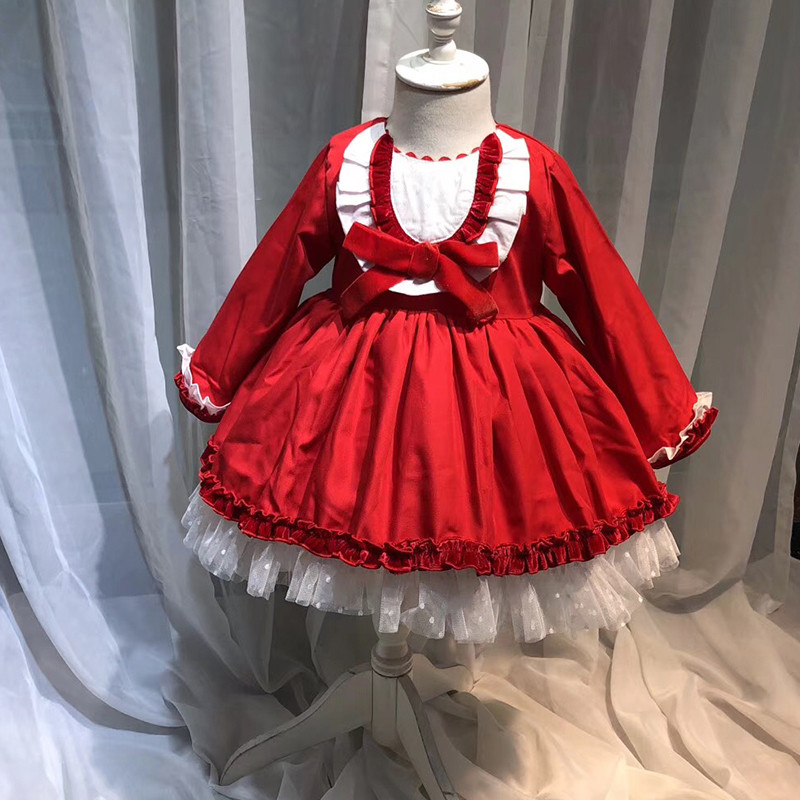Spanish Winter Dresses Thick Princess Costumes Kids Long Sleeve Tulle Birthday Party Layered Dress For Girl Clothes Wedding Robe цена 2017