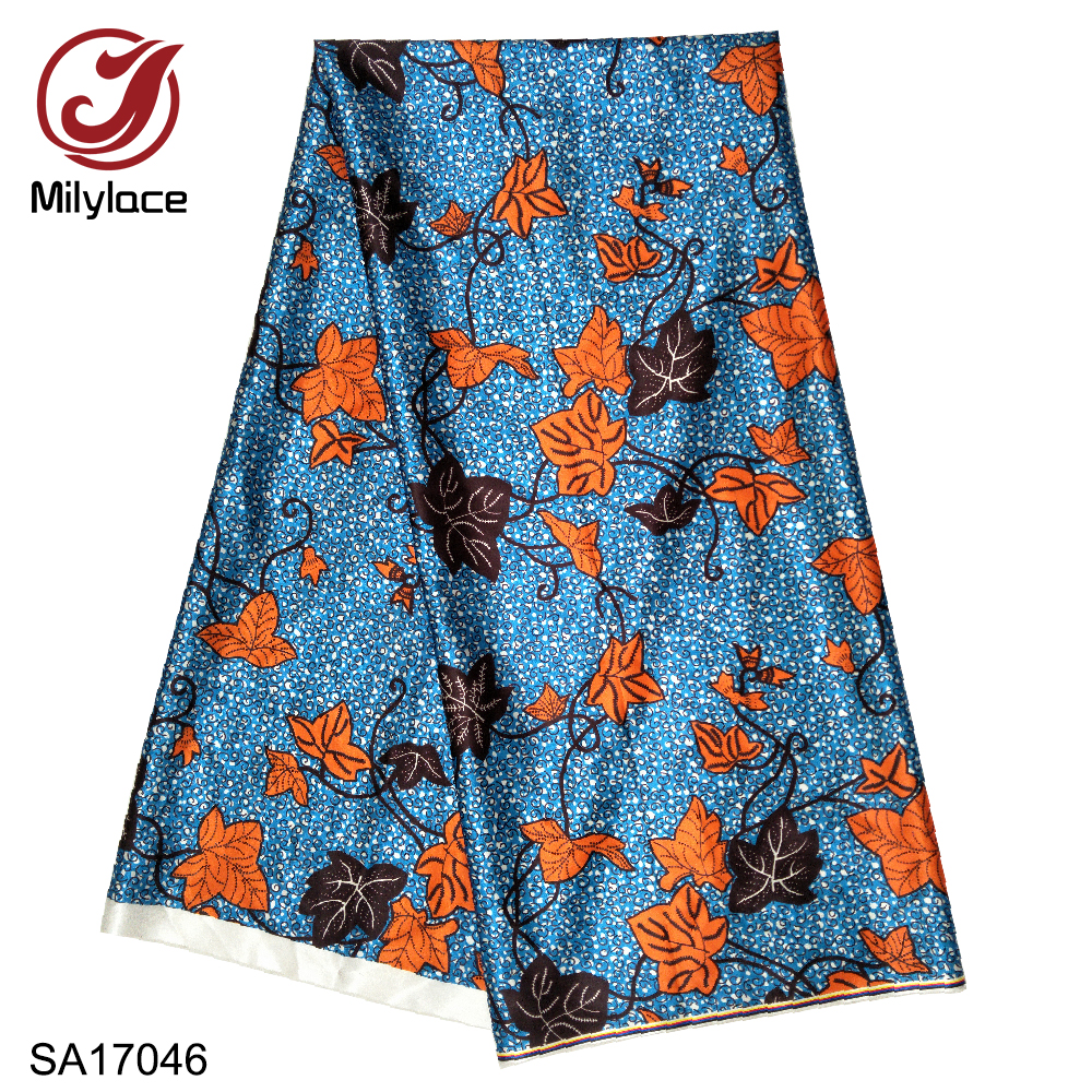 Image 2 - Milylace hot selling african digital printed wax pattern satin fabric fashionable wax pattern design satin fabric SA17049Fabric   -