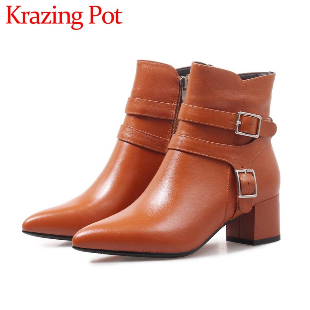 2018 hot sale cow leather oxford pointed toe british style buckle decoration med sqaure heels winter warmful mid-calf boots L23 british style splicing and buckle design mid calf boots for men