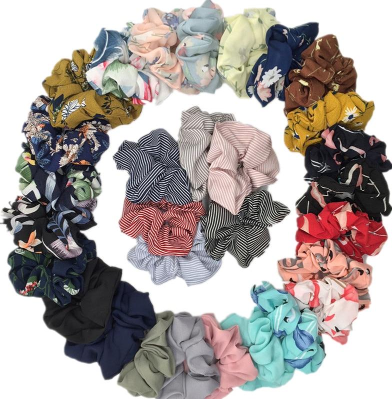 6pcs Hair Accessories Ties Scrunchies Pack Cabelo Leopard Floral Satin Chiffon Women Girls Fashion Velvet Solid Strips 6pcs/pack