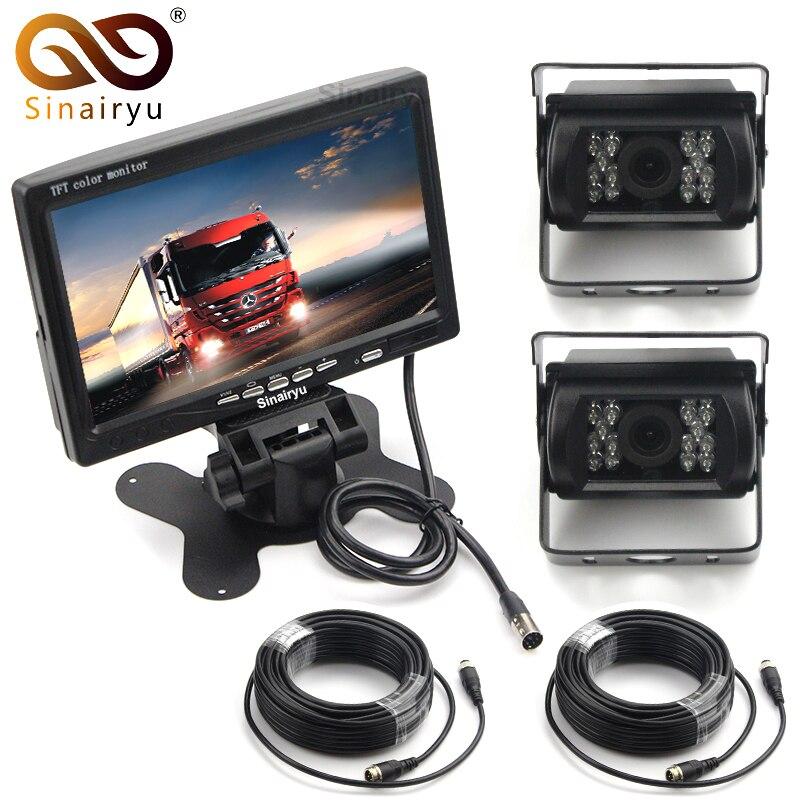 Double caméra de sauvegarde et Kit de moniteur pour camion de Bus RV, caméra de recul étanche IR LED Vision nocturne + moniteur de vue arrière LCD 7