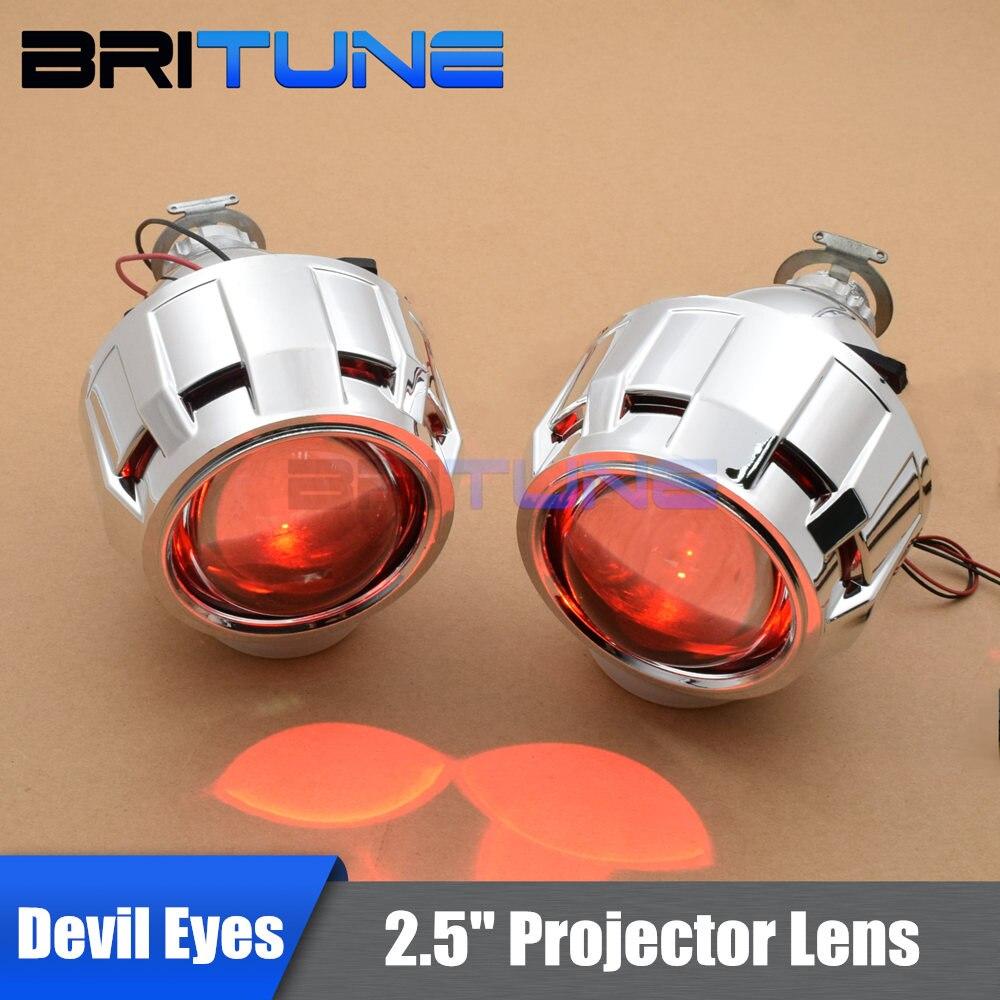 Мини 2,5 HID Биксеноновая объектив проектора W/WO дьявол Демон глаза H1 H4 H7 9005 9006 налобный фонарь фар автомобиля модернизации DIY черный, серебрис... ...
