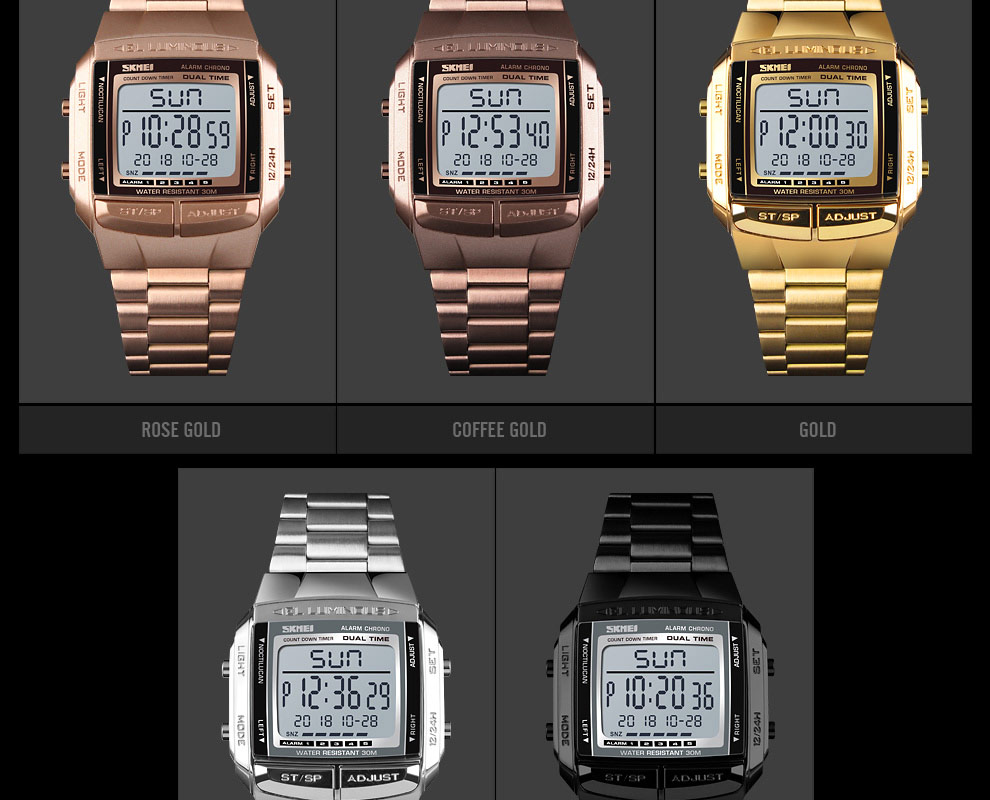 SKMEI Sports Watch Men Digital Watch Alarm Clock Countdown Watch Large Dial Glass Mirror Clock Fashion Outdoor Relogio Masculino 12